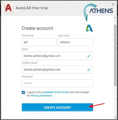 tạo tài khoản đăng nhập autocad